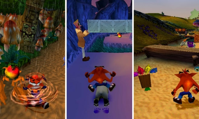 Da sinistra verso destra: Crash Badicoot, Crash Bandicoot 2: Cortex Strikes Back e Crash Badicoot 3: Warped.