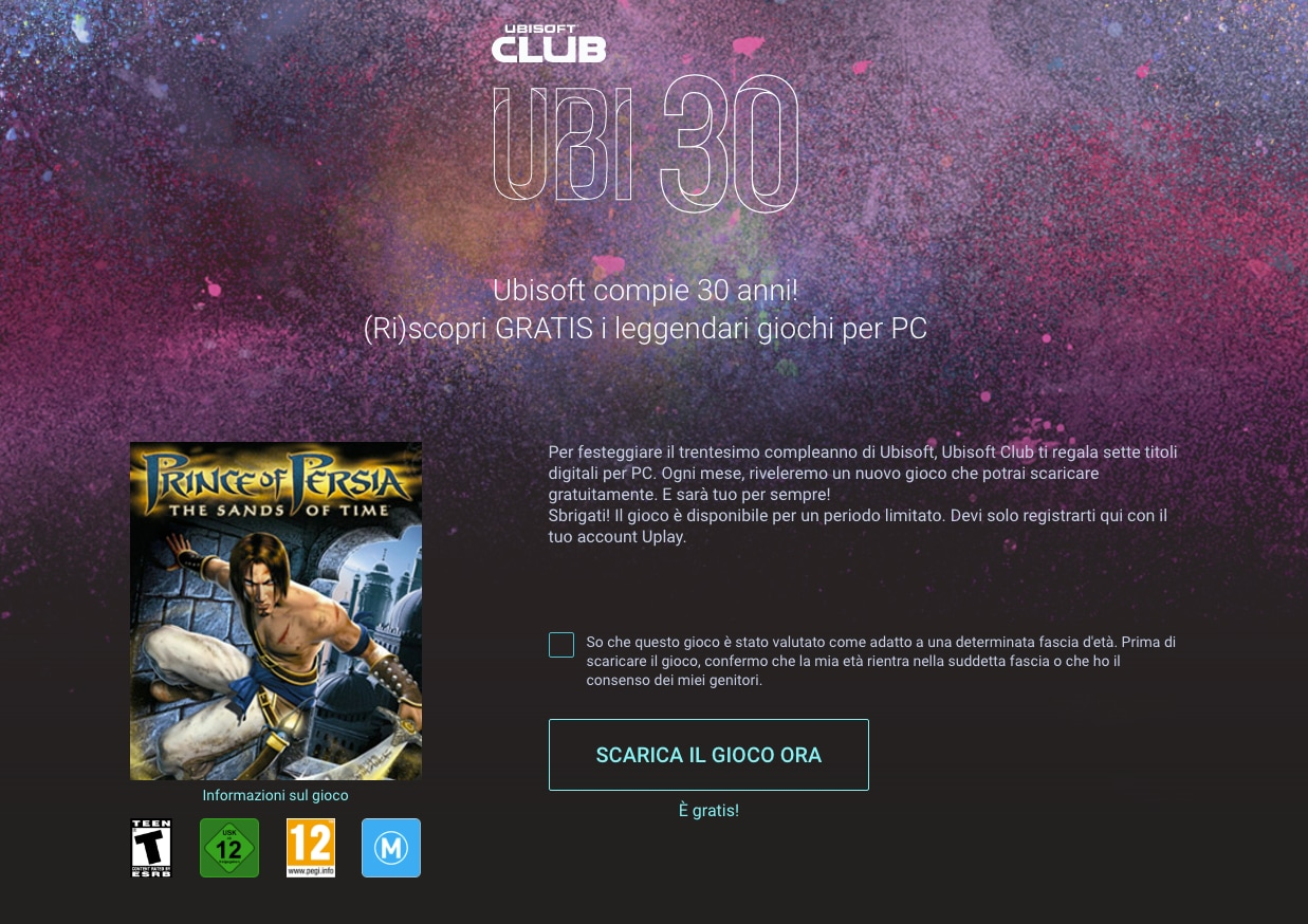 Ubisoft festeggia 30 anni e vi regala Prince of Persia: Le Sabbie del Tempo e altri 7 titoli PC