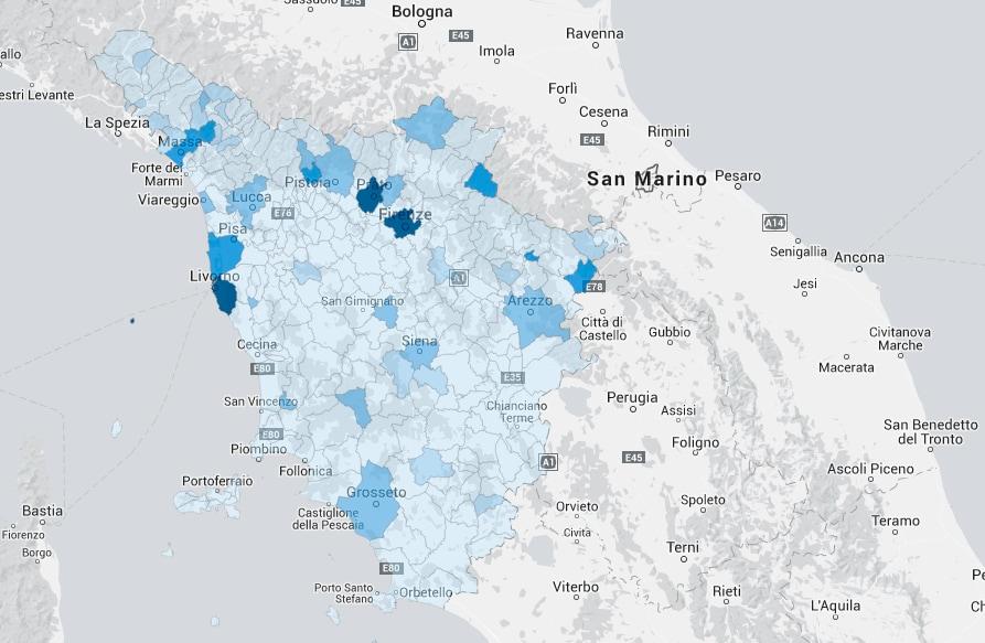 mappa fibra italia