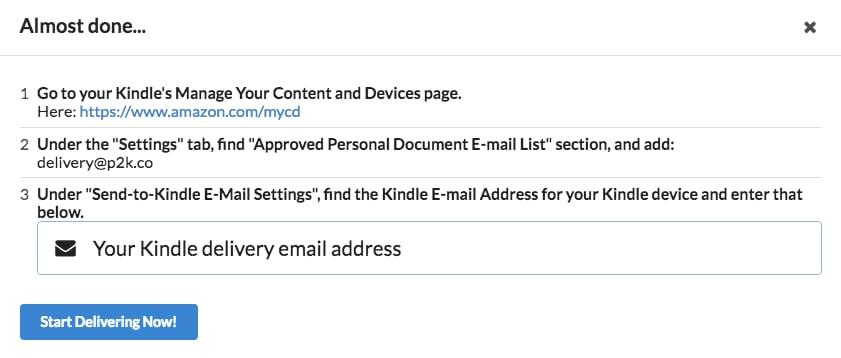 Inviare articoli Pocket a Kindle 2
