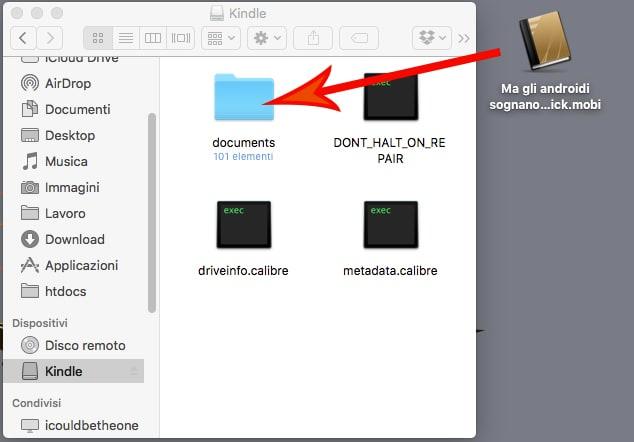 Per trasferire un ebook da PC a Kindle basta trascinarlo nella cartella documents