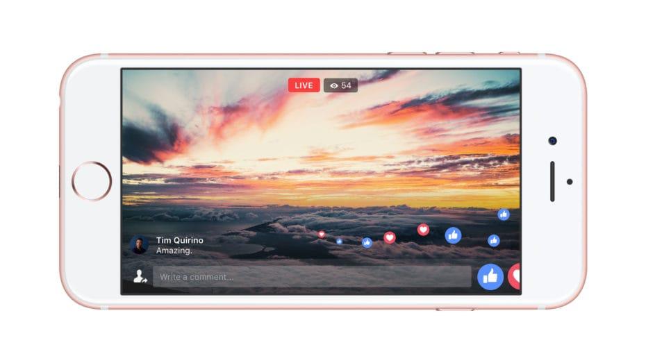 facebook live schermo intero