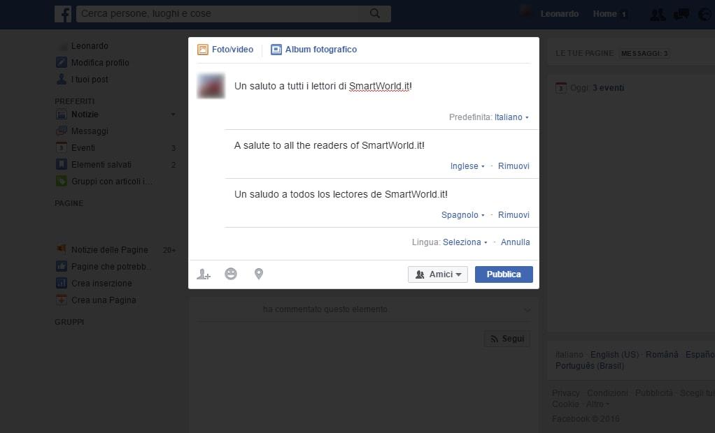 facebook post multilingua