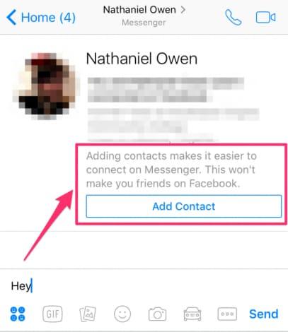 facebook messenger contatti