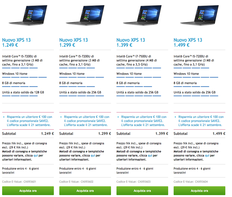 Dell XPS 13 Kaby Lake prezzi