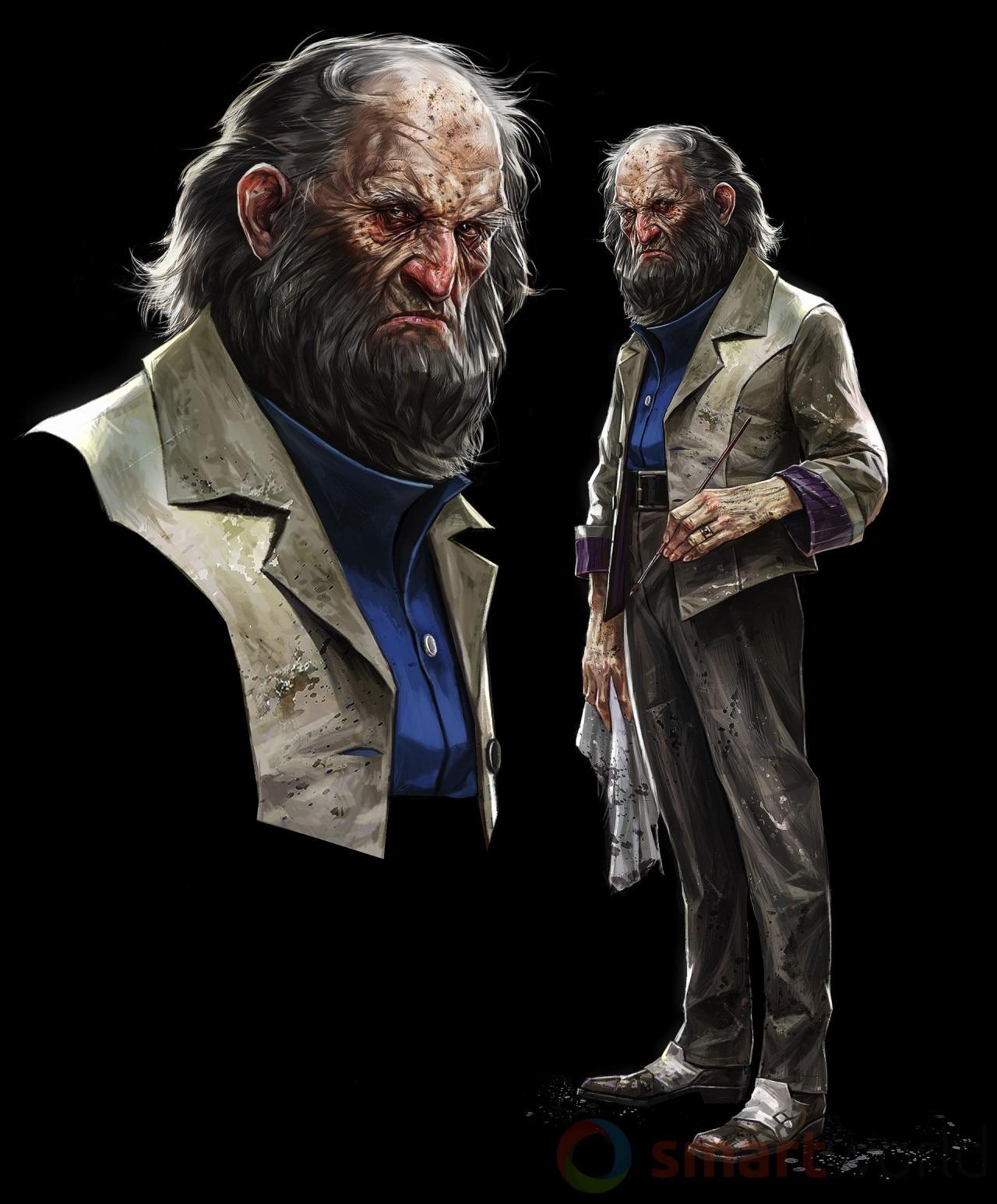 Anton Sokolov - Inventore, alchimista, mistico, iconoclasta e pittore. Questo è uno dei design iniziali del personaggio, che poi è stato modellato, animato, ridoppiato e quindi portato alla luce in gioco.