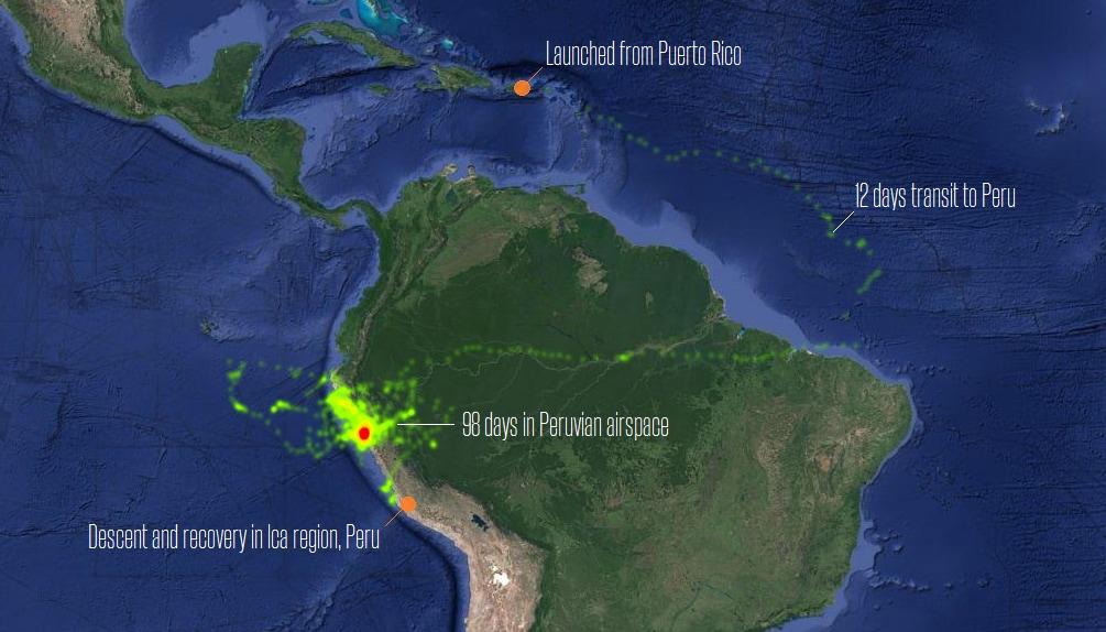 Project Loon – mappa di volo