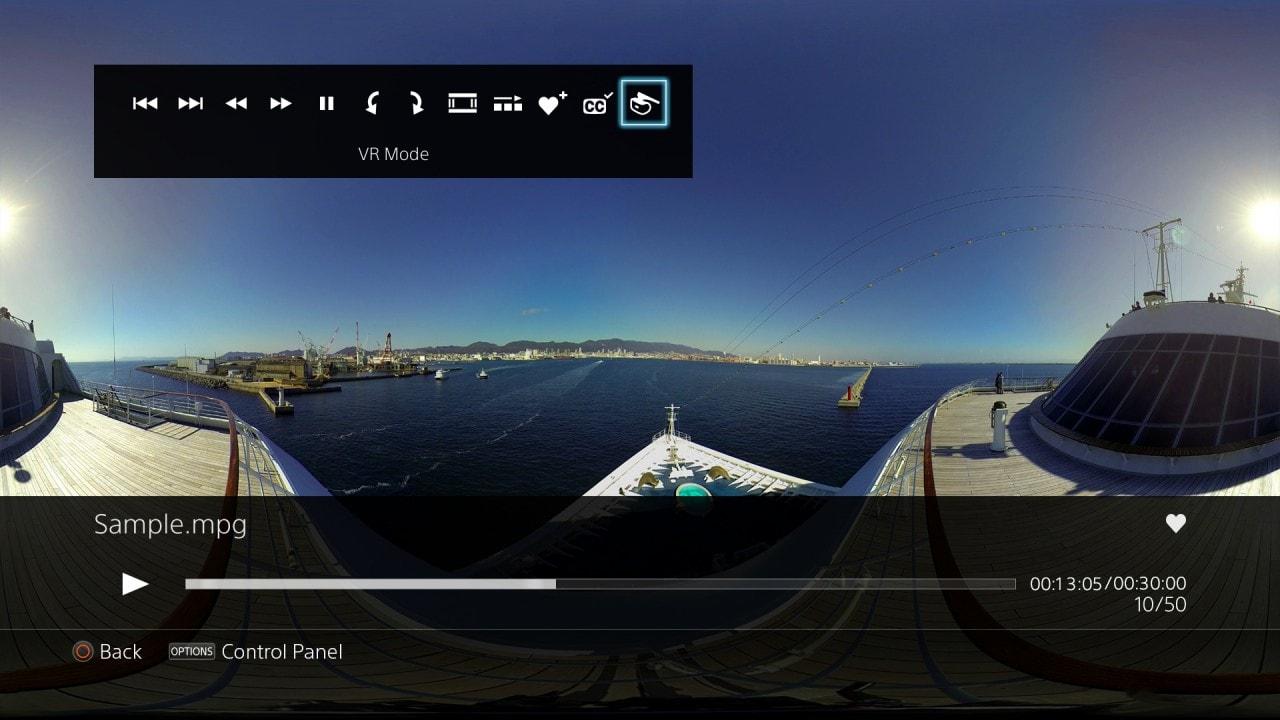 Realtà virtuale e audio HD con l'ultimo aggiornamento del Media Player Playstation