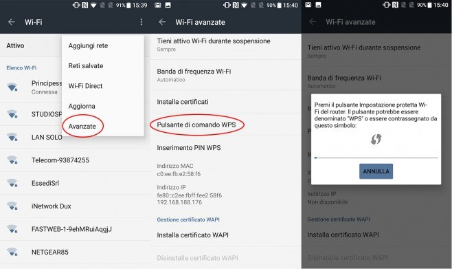 Connessione WPS Android