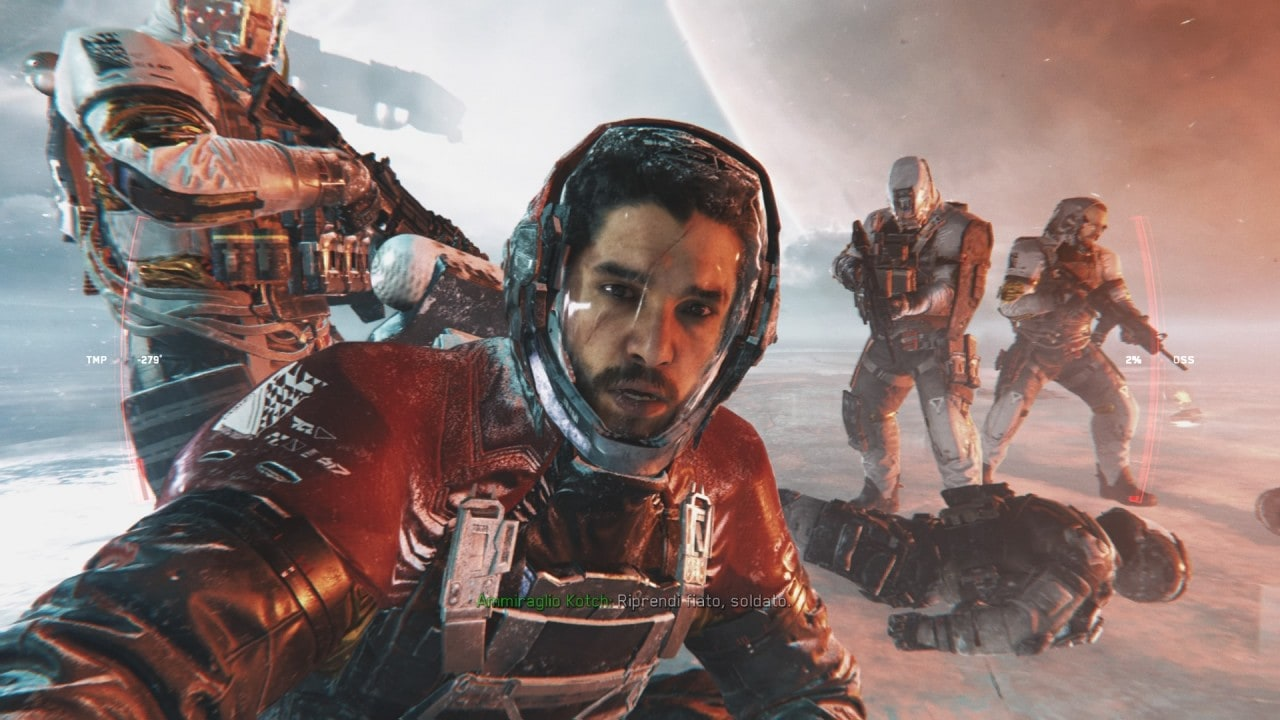 Recensione Call of Duty: Infinite Warfare - L'ammiraglio Kotch è interpretato da Kit Harington, l'attore che interpreta Jon Snow in Game of Thrones.