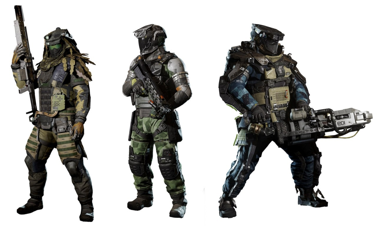 Recensione Call of Duty: Infinite Warfare - Alcuni dei Combat Rigs da sx verso dx: il Phantom, il Warfighter e il Merc.