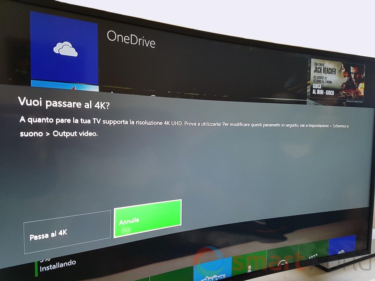 Recensione Xbox One S - Nel caso di collegamento a un televisore 4K si aprirà un'apposita finestra di dialogo per cambiare la risoluzione della console.