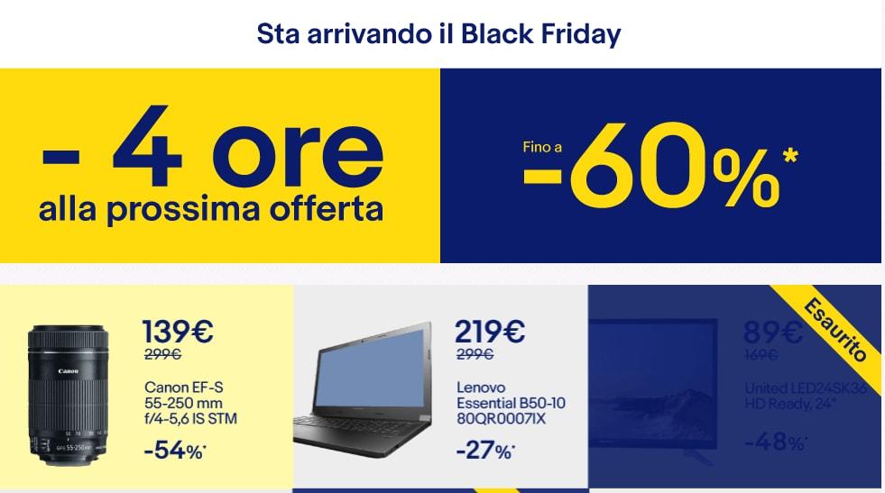 Sconti fino al 60% su TV, notebook e smartphone: ecco il Black Friday di eBay