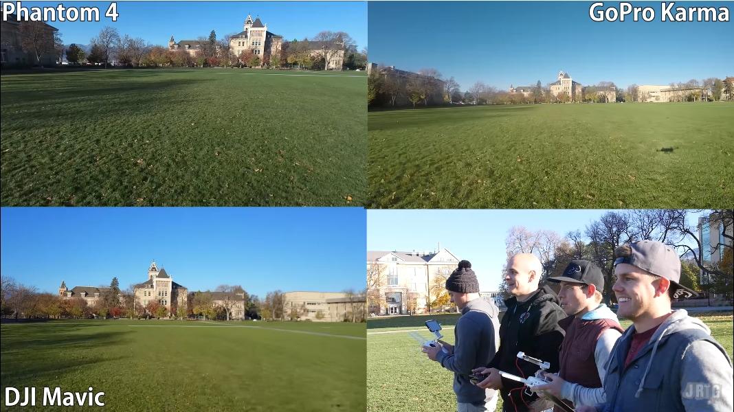 GoPro Karma, DJI Mavic e Phantom 4 in gara fra loro: e il drone più veloce è... (video)