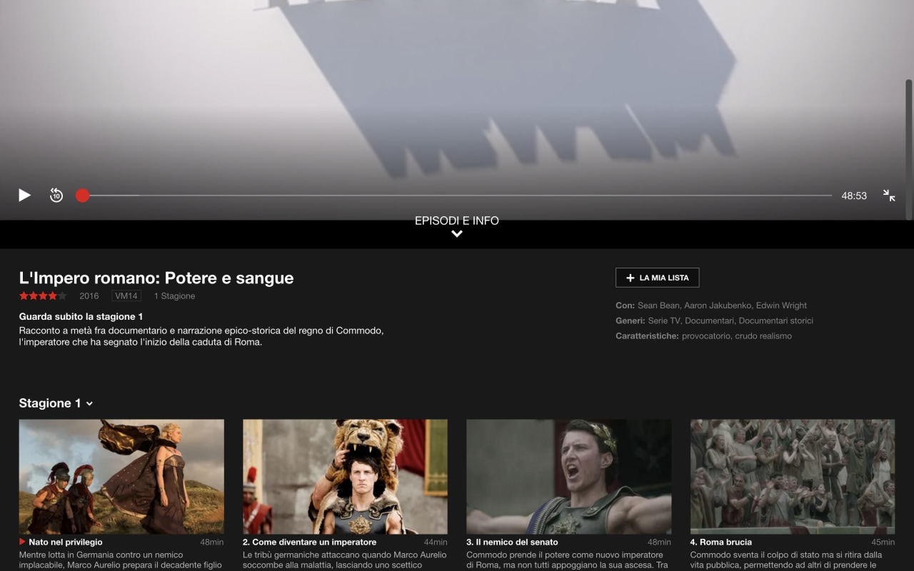 nuova interfaccia player netflix