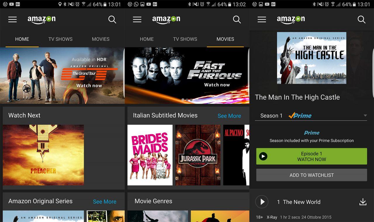 Ecco come si presenta l'app Android dedicata ad Amazon Prime Video.