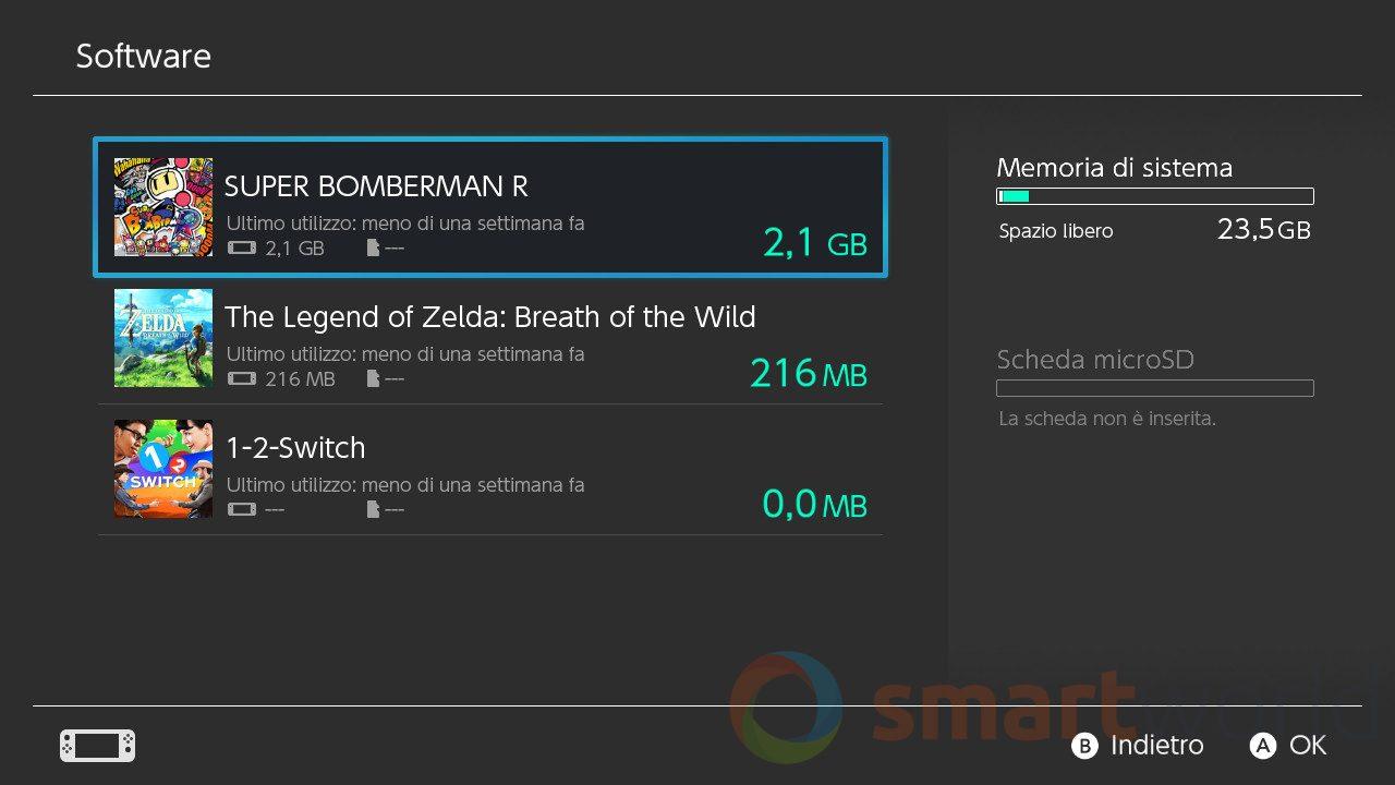 """Recensione Nintendo Switch - Dei 32 GB totali """"solo"""" 26 sono a disposizione dell'utente."""