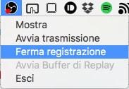 Screenshot tasto Ferma registrazione OBS