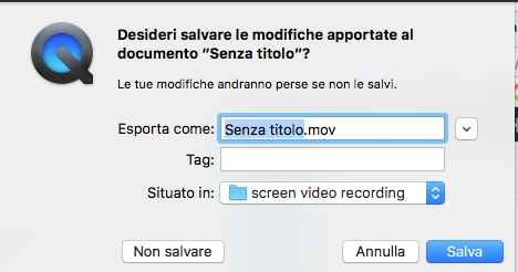 Screenshot salvataggio video QuickTime
