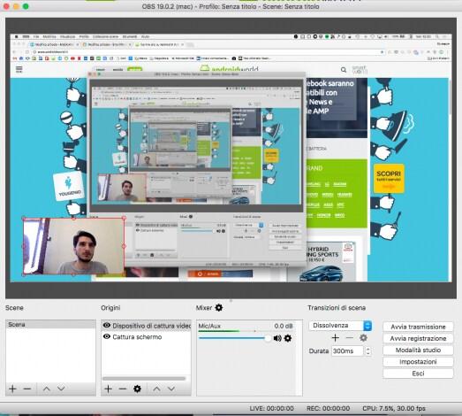 Screenshot posizionamento webcam OBS