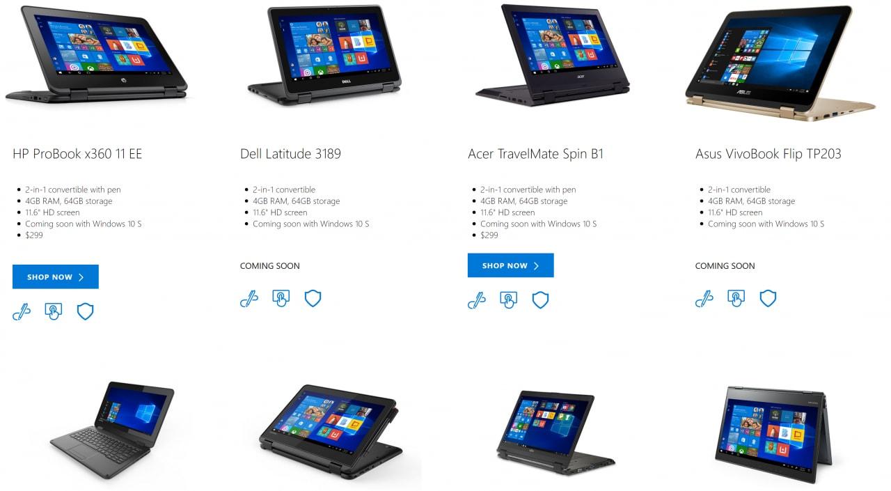 Ecco i primi non Surface con Windows 10 S: si parte da 184$