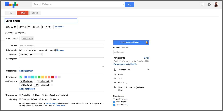 Google Calendar grandi eventi