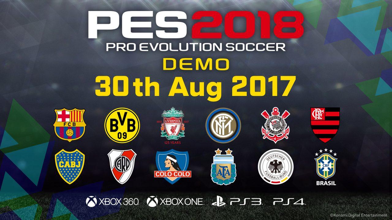 La demo di PES 2018 per console sarà disponibile dal 30 agosto: ecco le squadre presenti