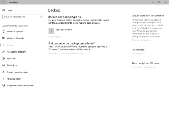 backup incrementale windows 10
