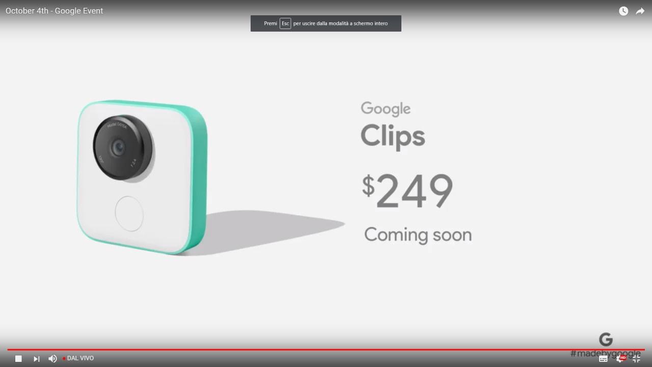 Google Clips, la fotocamera dotata di intelligenza artificiale, è ora disponibile all'acquisto negli USA