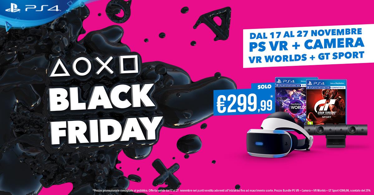 Inizia il Black Friday di PlayStation: PSVR + PS Camera + GT Sport + VR Word a soli 299,99€