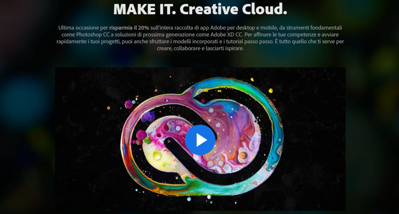 Adobe sconta del 20% il piano annuale di tutte le applicazioni Creative Cloud, solo per il Black Friday!