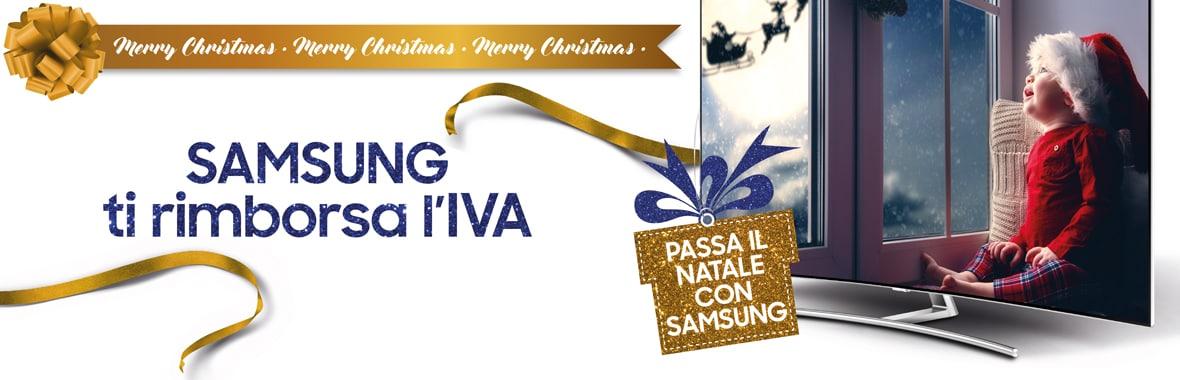 """Samsung vi """"regala"""" l'IVA per Natale: rimborso sugli acquisti di TV fino al 31 dicembre"""