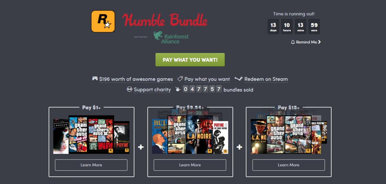 Un Humble Bundle particolarmente goloso: ben 11 capolavori Rockstar Games a 12€