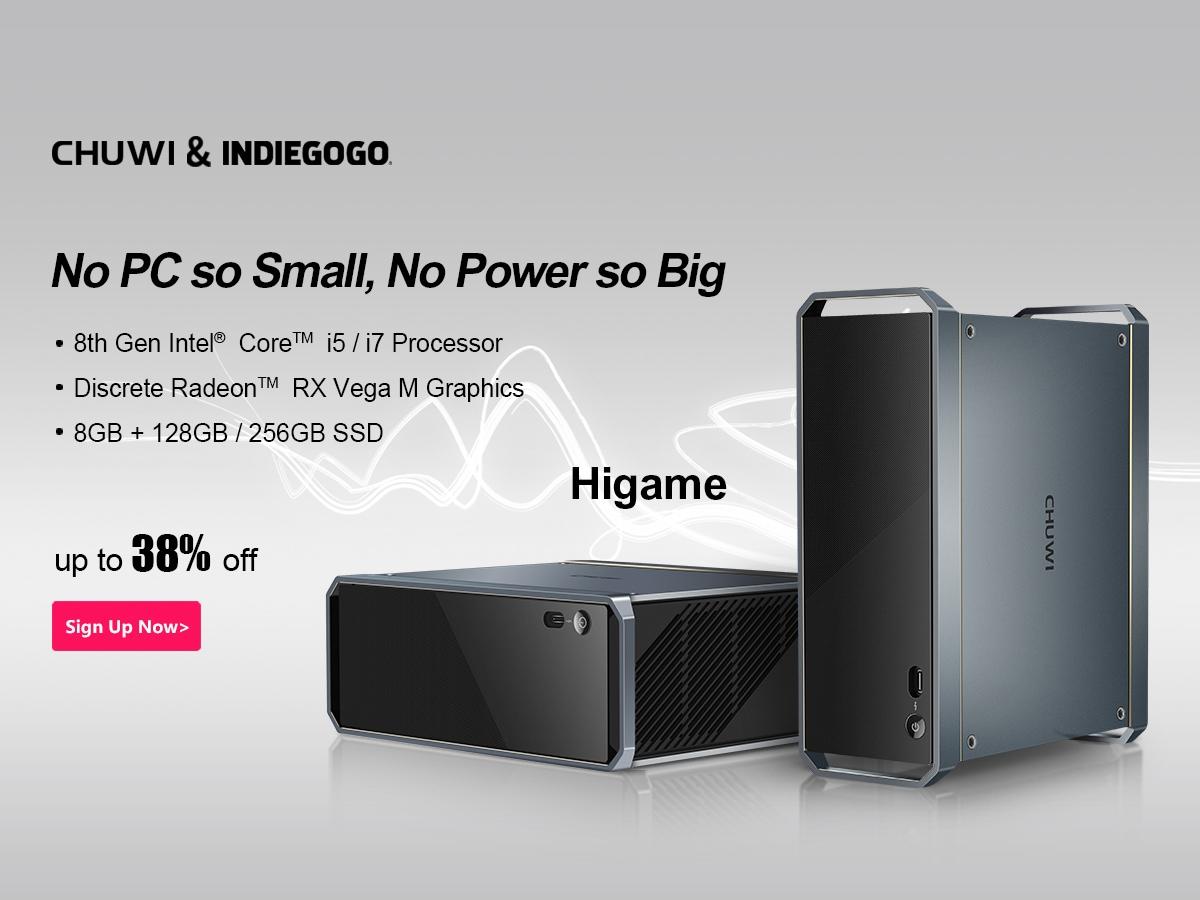 Chuwi lancia su Indiegogo il suo mini PC da gaming con Core i7 e Radeon RX Vega M (aggiornato: campagna iniziata)