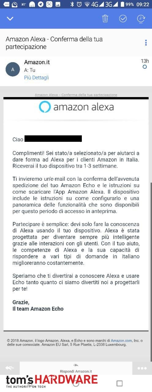 amazon alexa in test in italia speaker echo in regalo per. Black Bedroom Furniture Sets. Home Design Ideas
