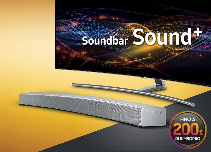 Samsung rimborsa fino a 200€ se acquistate insieme un QLED TV e una SoundBar Sound+