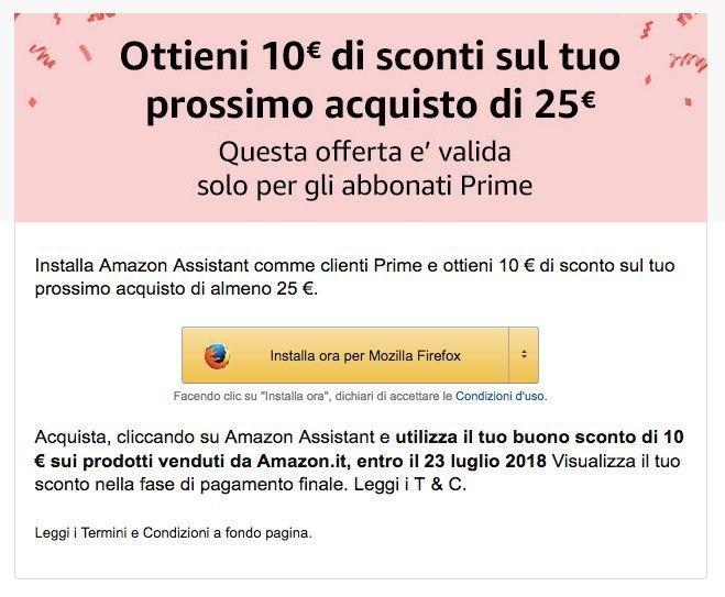 Amazon Assistant Sconto 10€