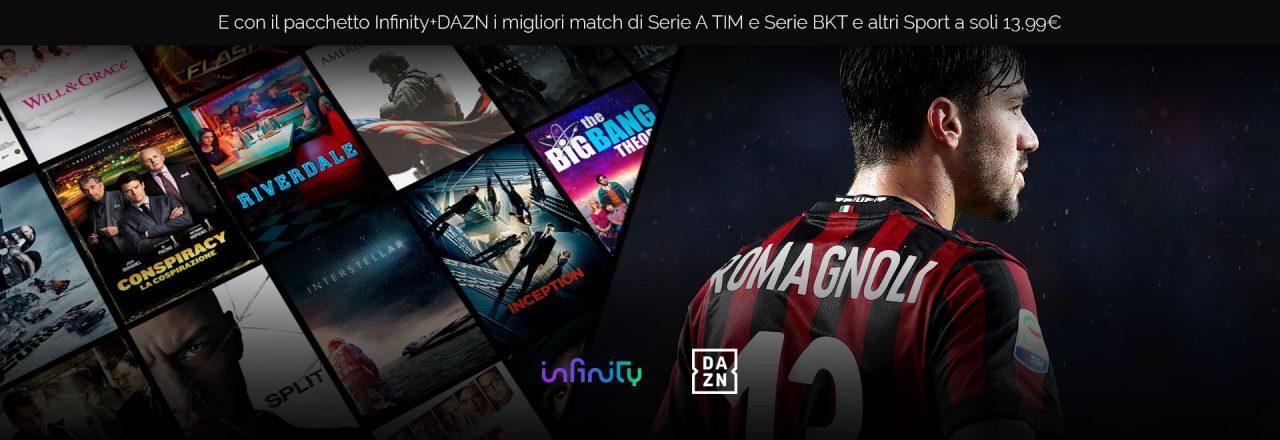 Infinity e DAZN insieme per spiccare il volo: film, serie TV e calcio in diretta in un unico pacchetto da 13,99€