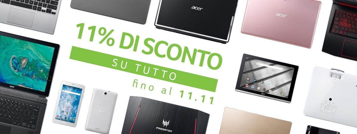 Il Singles Day targato Acer vi regala sconti dell'11% su tutti suoi prodotti fino all'11 novembre!