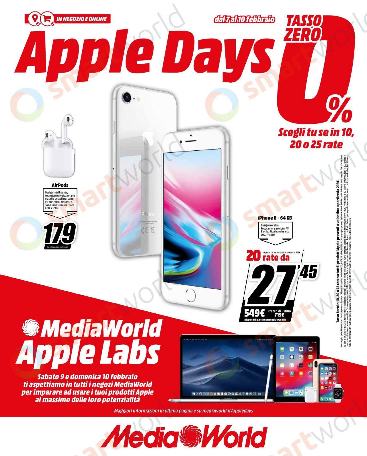 Volantino Mediaworld Apple Days 7 10 Febbraio Iphone Ipad Airpods