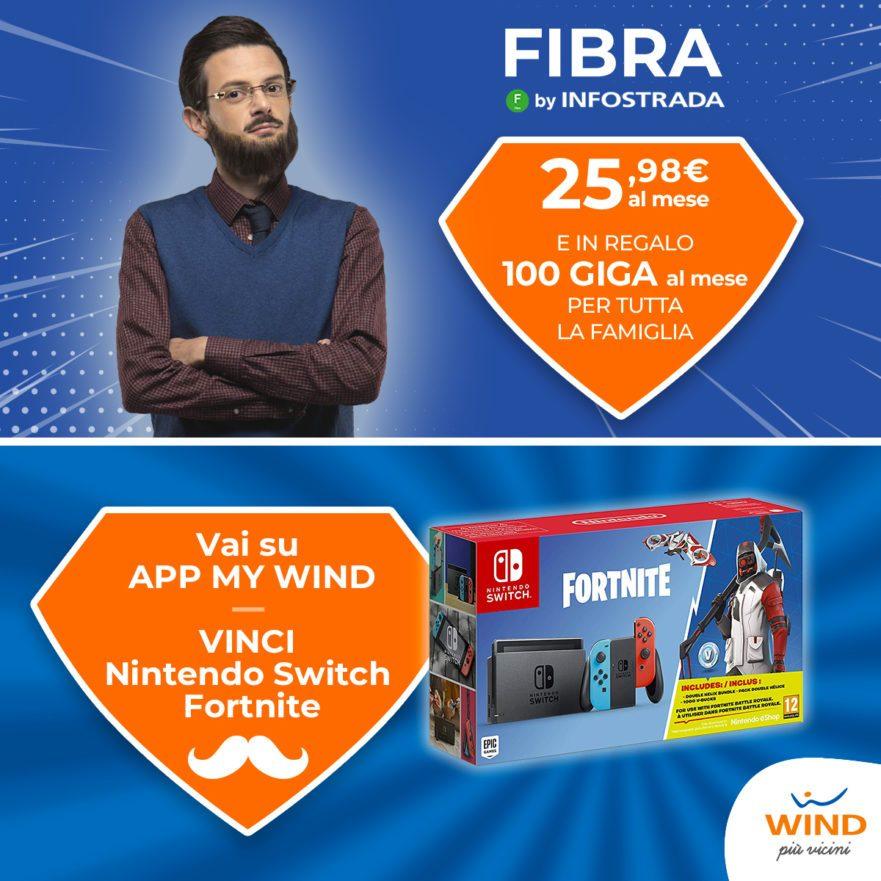 Per la Festa del papà Wind lancia Fibra 1000 a 25€ e mette in palio 10 Nintendo Switch con Fortnite al giorno (foto)