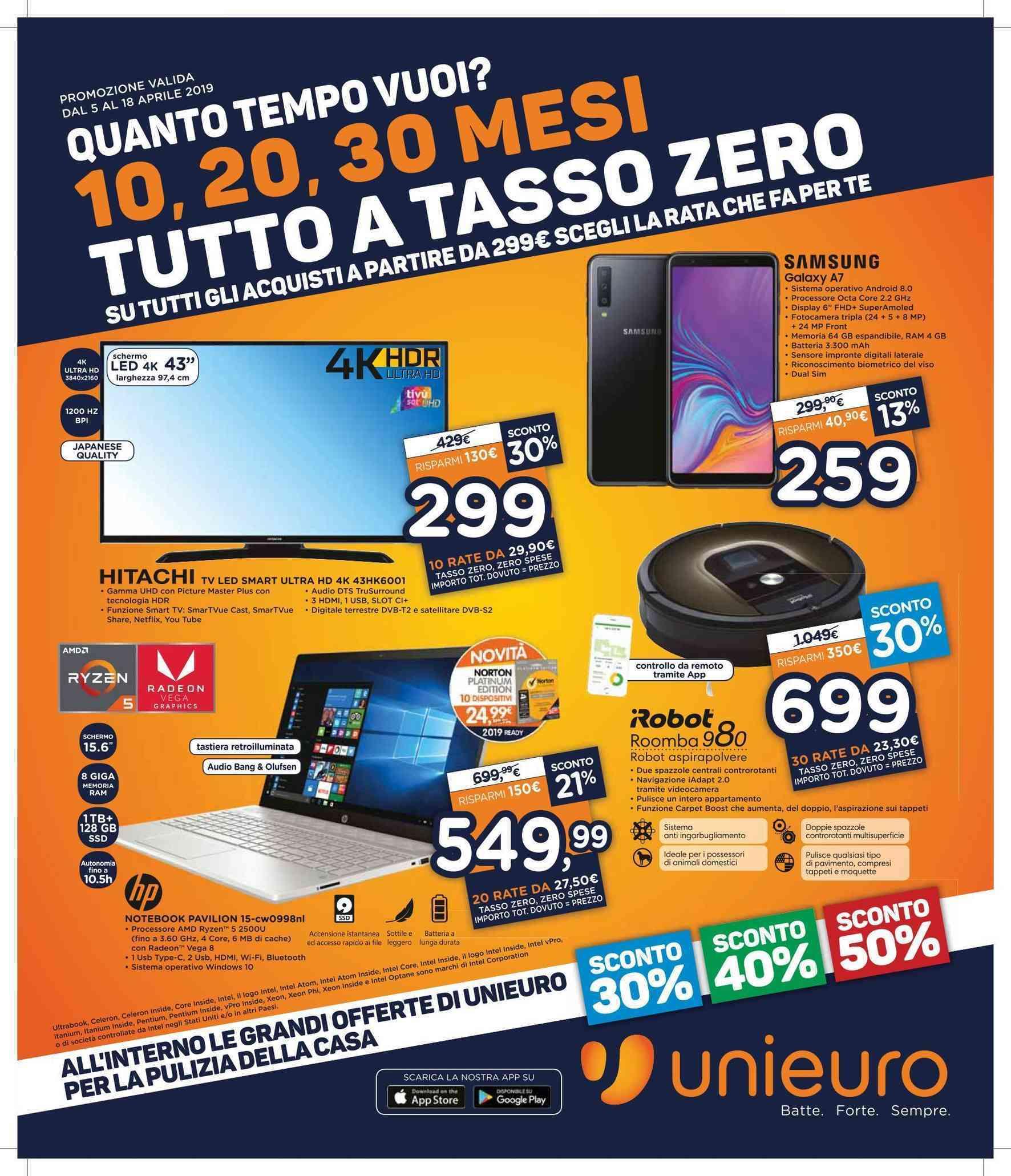 Volantino Unieuro Tutto A Tasso Zero 5 18 Aprile 2019 Rate E Sconti Su Smartphone Tv Notebook E Non Solo Smartworld