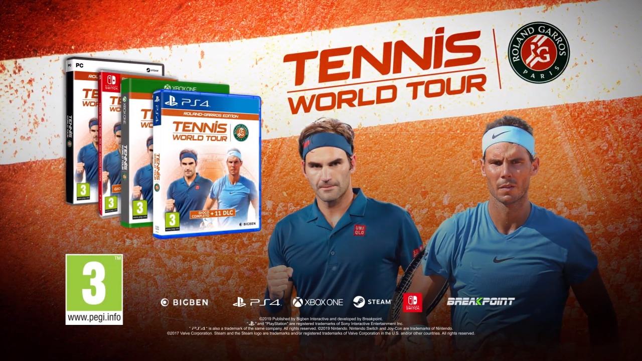 Tennis World Tour Roland-Garros disponibile per PC, PS4, Xbox One e Nintendo Switch!
