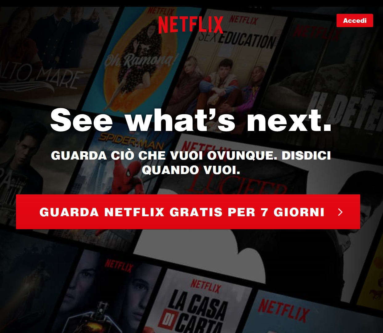 """701ca8ffaf Aprendo Netflix su Edge siamo stati accolti da un nuovo pulsante riportante  la dicitura """"Guarda Netflix Gratis per 7 giorni""""."""