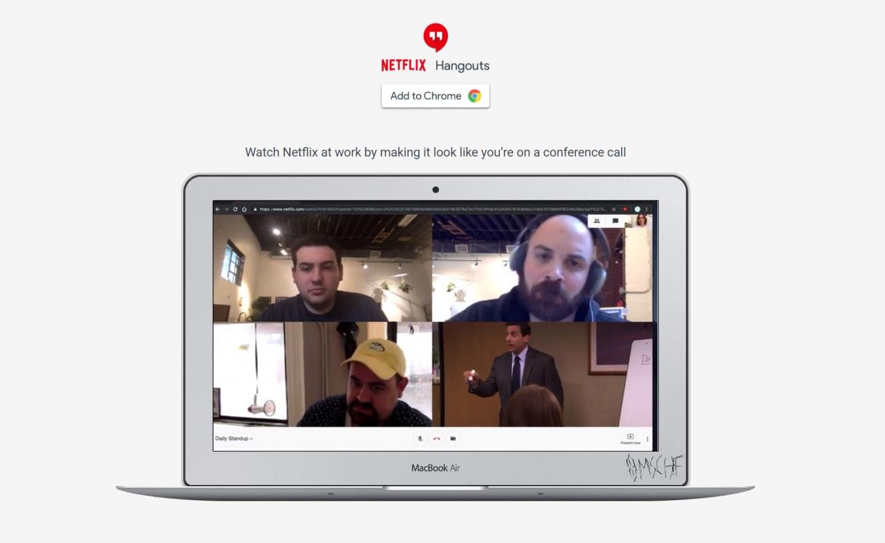 """Netflix Hangouts è un'estensione che """"nasconde"""" Netflix in una finta video-conferenza"""