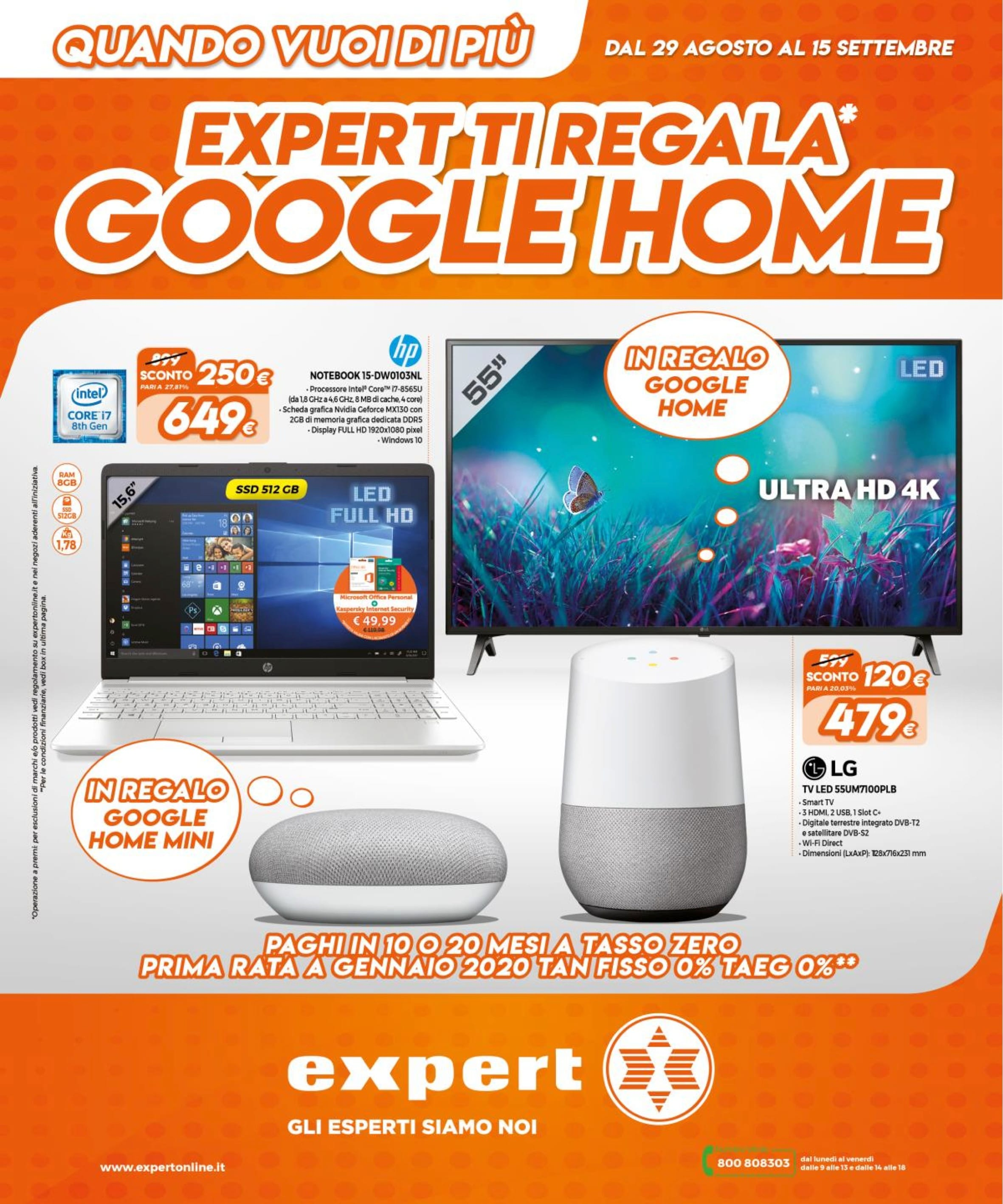Volantino Expert ti regala Google Home 29 ago – 15 set 2019 -01