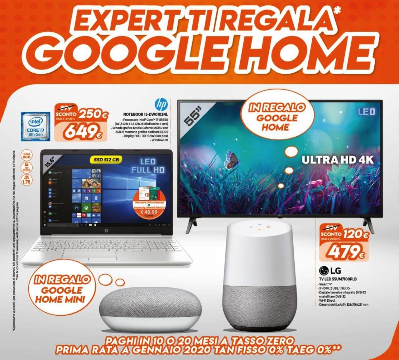 """Volantino Expert """"ti regala Google Home"""" 29 ago – 15 set: regalo smart su tanti prodotti selezionati (foto)"""