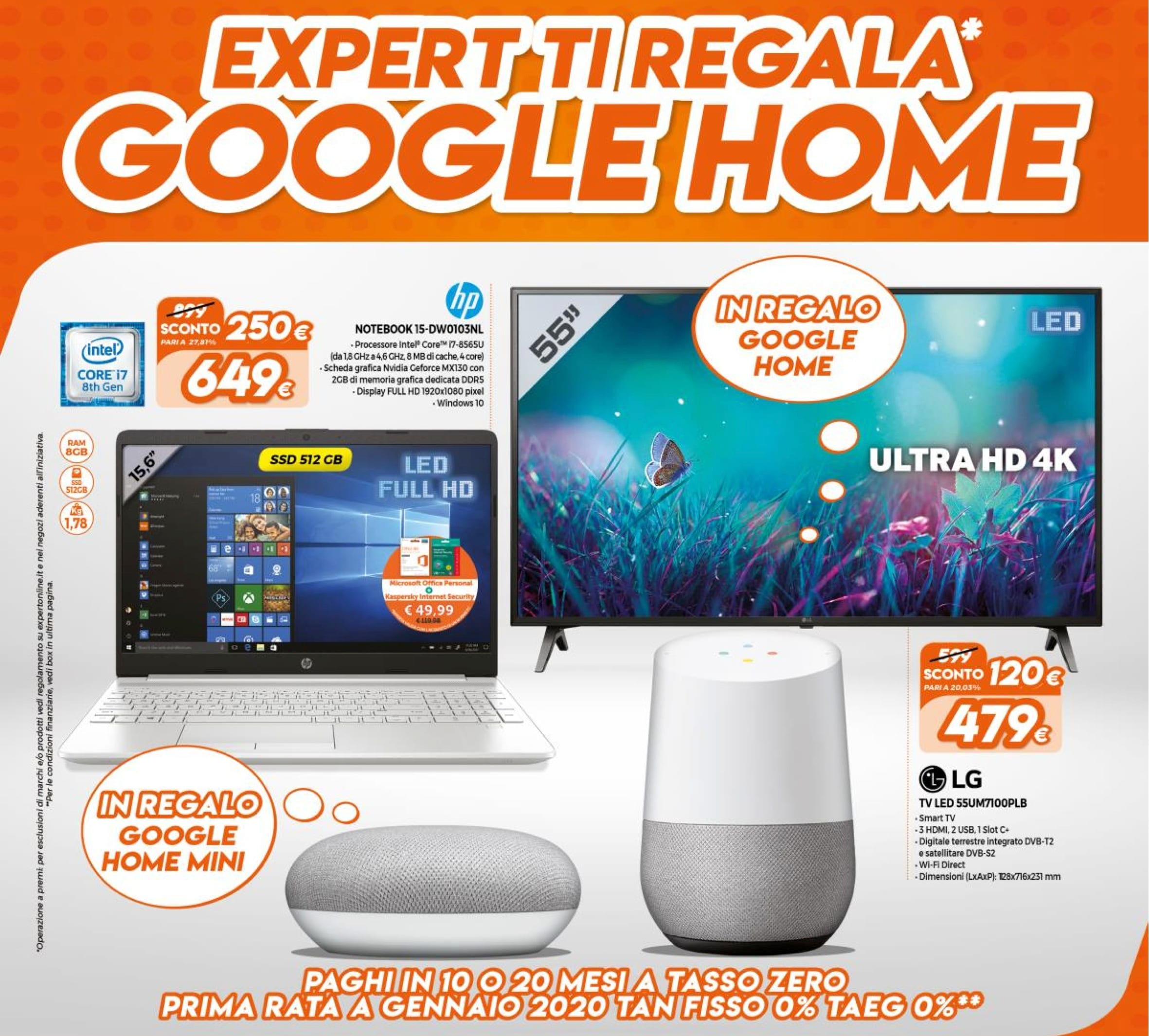 Volantino expert ti regala google home 29 ago 15 set for Regalo mobile tv