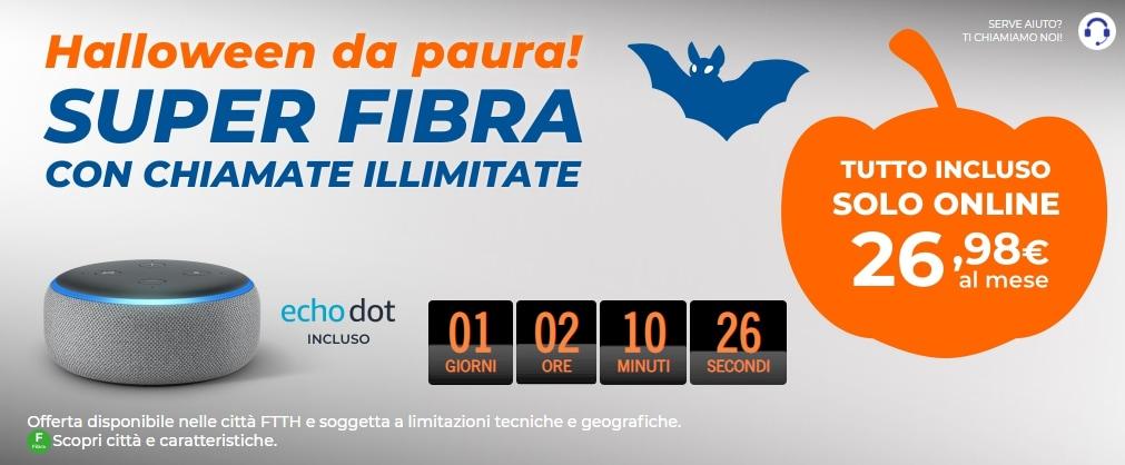 Avete pochissime ore per attivare l'offerta di Halloween di Wind: Fibra, chiamate e Echo Dot incluso