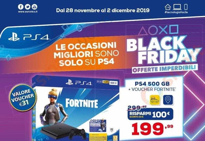 Volantino Euronics Black Friday PlayStation 28 nov-2 dic: le migliori occasioni su PS4, giochi e accessori